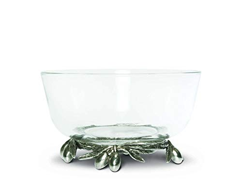 Vagabond House Dip/Olive Glass Bowl Pewter Bowl with Pewter Olive Base 5