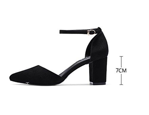 Sandals ZCJB Coarse Heel Shoe Female Summer Season Wild High-heeled Shoes Mid Heel One Word Deduction Open-toed Shoes (Color : Black, Size : 35) Black