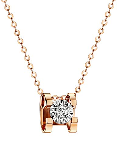 michooyel 18K Rose Gold Diamond(0.03 ct, Color D, VVS) Pendant Necklace for Women 18""