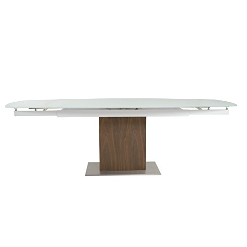 Modern Walnut & White Glass Extension Conference Table or Desk (Extends 63' - 95')