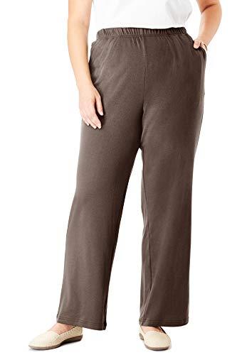 Woman Within Women's Plus Size Petite 7-Day Knit Wide Leg Pant - Chocolate, L