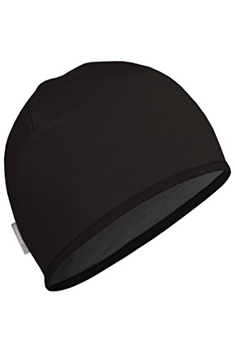 Icebreaker Men's Pocket 200 Hat (Black/Cargo, One (Reversible Wool Beanie)