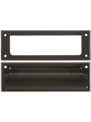 Solid Brass Letter Size Mail Slot with Open Back Plate in Oil-Rubbed Bronze ()