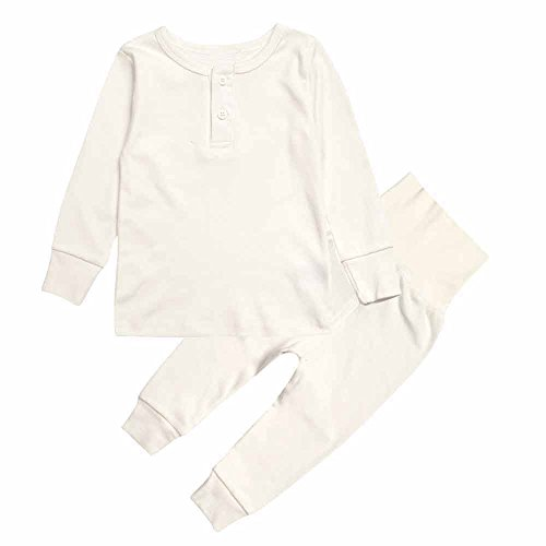Mary ye Kids Boy Girl Solid Pink Yellow Pajamas Set 100% Cotton 2Pcs (White Boys Pajamas)