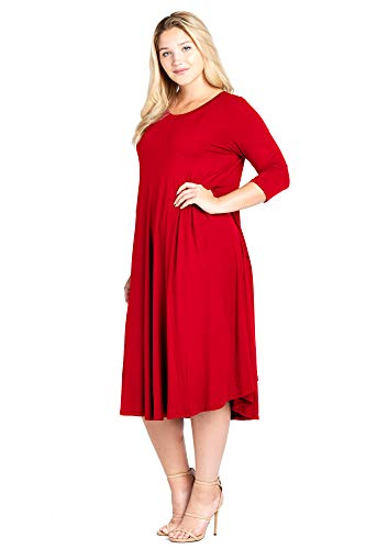 Modern Kiwi Long Sleeve Flowy Maxi Plus Size Dress Red 1X