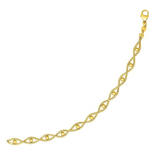 14k Braided Bead Chain - Mia Diamonds Braided Chain Bracelet with Polished Bead Accents in 14k Yellow Gold