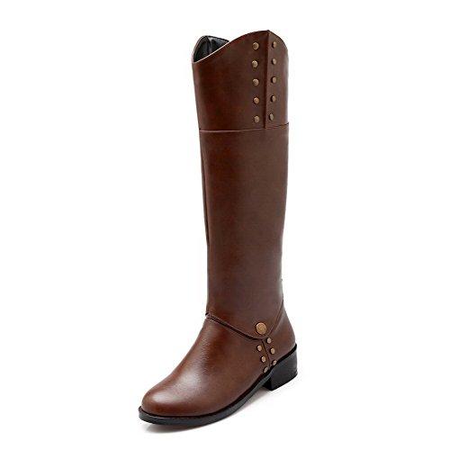 AgooLar Damen Blend-Materialien Rund Zehe Rein Knie Hohe Niedriger Absatz Stiefel Braun