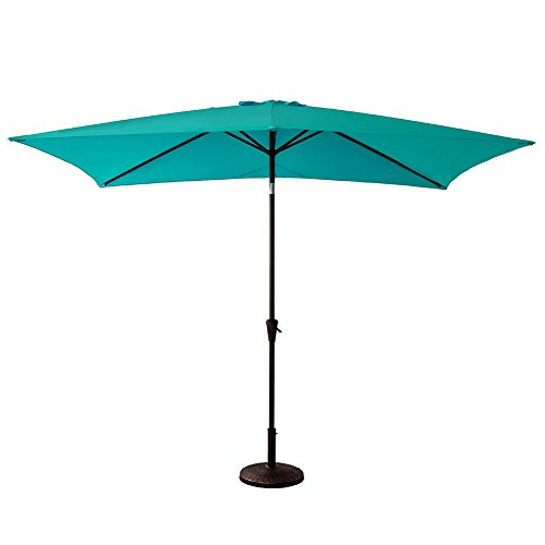 C-Hopetree Rectangle Patio Outdoor Market Umbrella 6'6 x 10' with Crank Winder, Push Button Tilt, Aqua Blue