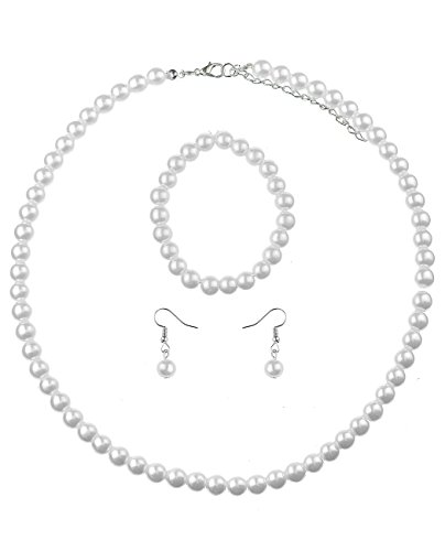 - NYFASHION101 Women's 7mm Simulated Pearl Necklace with Stretch Bracelet and Ball Earrings, White