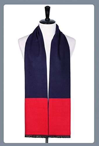Rouge Épissure Tricoté Hiver Automne 180cm Cachemire Amdxd Pour Bleu Hommes Écharpe Conception vtngFF6wqC
