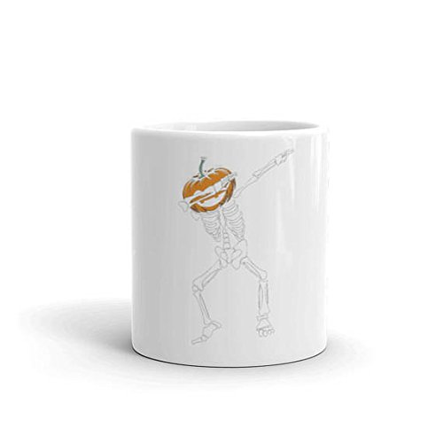 Coffee mug, Dabbing Skeleton with Pumpkin Head Mug Halloween Halloween Costume Halloween Party Funny Halloween Halloween Cup Skeleton Shirt Dab, 11oz, 15oz, (Starbucks Cup Halloween Costume)
