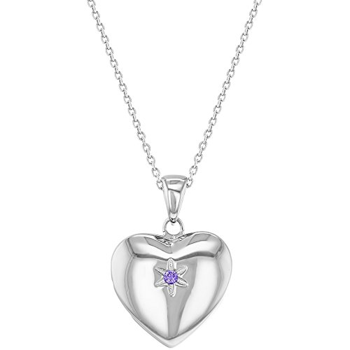 925 Sterling Silver Purple CZ Star Heart Girls Locket Necklace Pendant 16