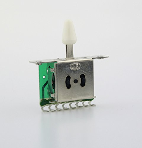 5-Way Pickup Selector Switch for Fender Tele Strat Replacement,White tip 5 Way Strat Switch