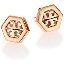 Tory Burch Hex-Logo Stud Earrings 16k Rose Gold