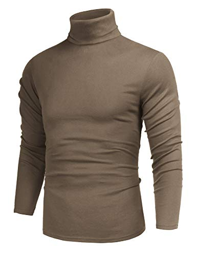 (poriff Men's Casual Slim Fit Basic Tops Knitted Thermal Turtleneck Pullover Lightweight Sweater Khaki)