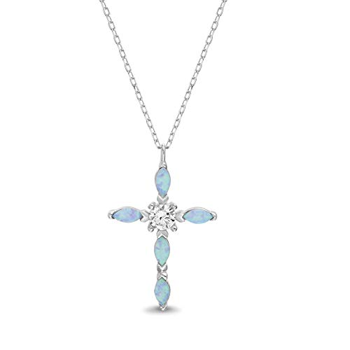 My Bible Rhodium Plated Sterling Silver Teardrop Laboratory Created Opal and CZ Cross Pendant Necklace on 18