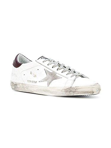 La Golden Goose Mens Superstar Low Top White / Purple Tap / Sneakers Fashion In Pelle Stella Argento G31ms590 C70 (eu40)