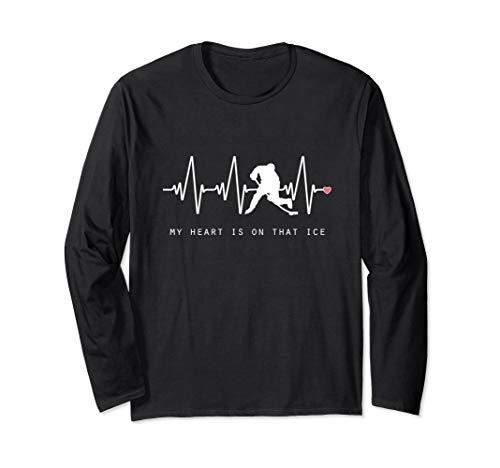 - Hockey Mom Heartbeat Long Sleeve TShirt Player Silhouette