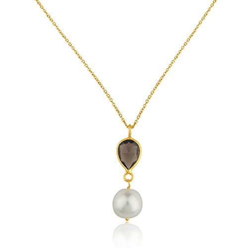 18k Gold Plated 925 Sterling Silver Smoky Quartz Pendant Necklace ()