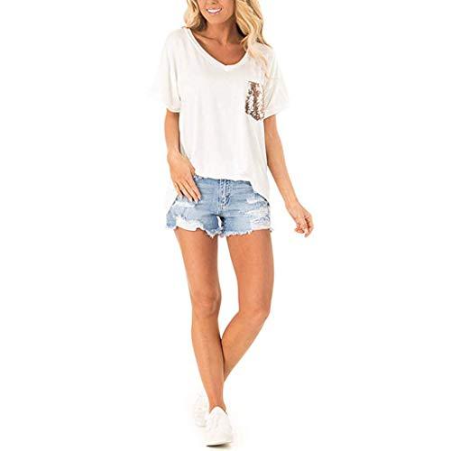 - WENSY Women's Fashion Plus Size Sequin Print Round Neck Short Sleeve Casual Loose Cotton T-Shirt Shirt Ladies Shirt(White,2XL)