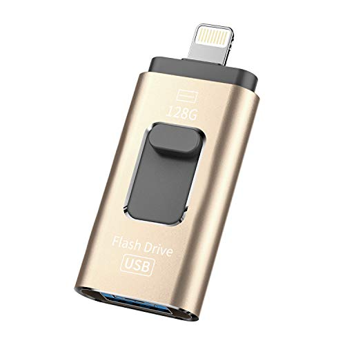 iOS Flash USB Drive 128GB iPhone Memory Stick 128GB Jump Drive Thumb Drive 3.0 Flash Drive Compatible for iPhone/iPad/PC/Android Password/Touch ID Protected Flash Drive for iOS/iPhone(128GB-Gold-1)