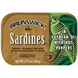 hot tomato oil - Brunswick Sardines in Soybean Oil with Hot Peppers 3.75 Oz (Pack of 6)