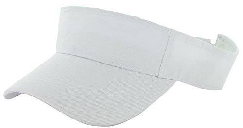 Plain Men Women Sport Sun Visor Adjustable Velcro Cap ( 29+ Colors) (White Visor)