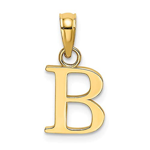14k Yellow Gold B Block Initial Monogram Name Letter Pendant Charm Necklace Fine Jewelry Gifts For Women For Her ()