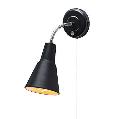 Globe Electric 65312 Ramezay 1-Light Plug-In or Hardwire Task Wall Sconce, Chrome Gooseneck, Matte Black Finish, 6ft Clear Cord