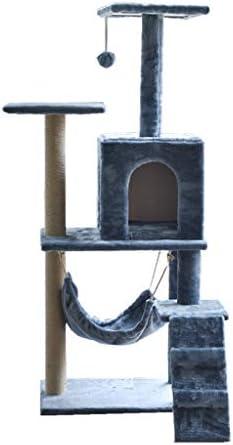猫の木と塔、猫のクライミングフレーム、ハンギングボール、サイザルで覆われたスクラッチポスト、高級マンションと猫の階段 (Color : Dark gray)