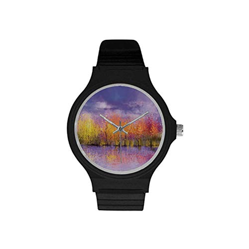Autumn Decor Utility Unisex Round Plastic Watch,Seasonal Landscape Paint with Shady Fall Trees by River Pastel Artwork for Daily,Case Diameter : 37mm ()