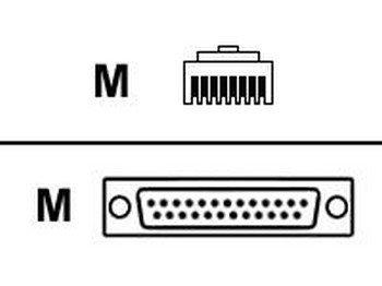 DIGI - SERIAL CABLE ( DTE ) - RJ-45 (M) - DB-25 (M) - 4 FT - ()