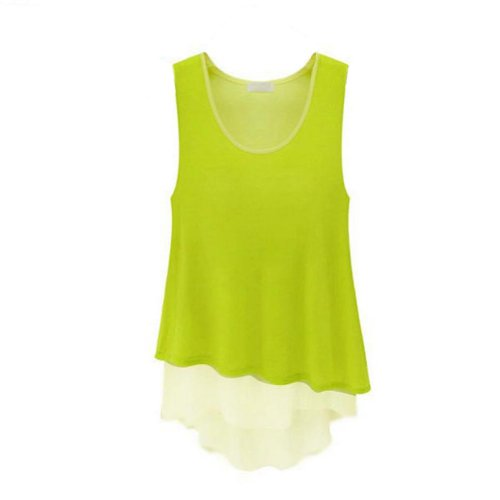 Zehui Women's Plain Lady Chiffon Tops Blouse Vest T-Shirt