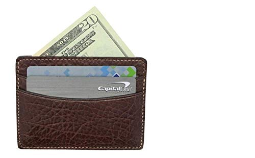 Brown Arizona Genuine Leather 5 Pocket Front Pocket Wallet - American Factory Direct - 5 Pocket Credit Card Business Card Case - Made in USA by Real Leather Creations FBA259 ()
