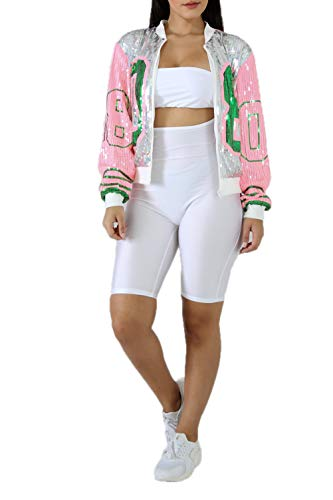 STAY CHIC Women Trendy Casual Silver Pink 08 Number Sequins Jacket (Silver, One Size) (Sequin One)