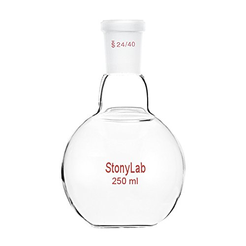 StonyLab Glass 250mL Heavy Wall Single Neck Flat Bottom Boiling Flask, with 24/40 Standard Taper Outer Joint - 250mL ()