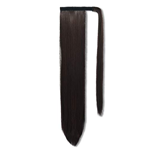 SEIKEA Wrap Around Ponytail Straight Hair Extension Clip in 28 Inch Synthetic Hairpiece - Dark Brown