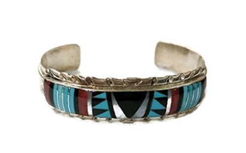 .925 Sterling Silver Native American Handmade Jewelry Zuni Inlay Design Cuff Bracelet (Mother of Pearl Middle) (Bracelet Pearl Coral Turquoise)