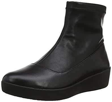 FitFlop Women's Olivia Sock Bootie Faux Leather, Black, 6 US