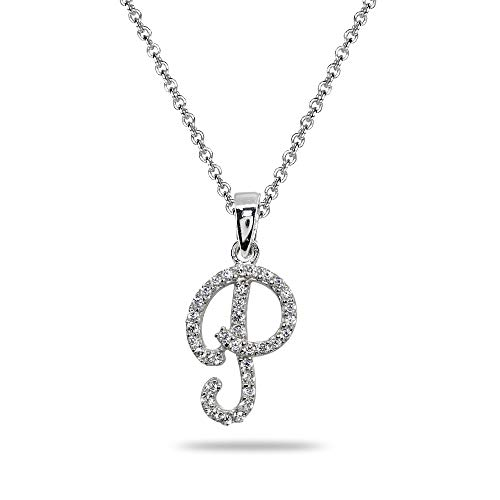 (Sterling Silver Cubic Zirconia P Letter Initial Alphabet Name Personalized Pendant Necklace)