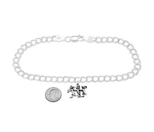 Mice Blind Charm Three (Sterling Silver Three Blind Mice on 5 Millimeter Charm Bracelet)