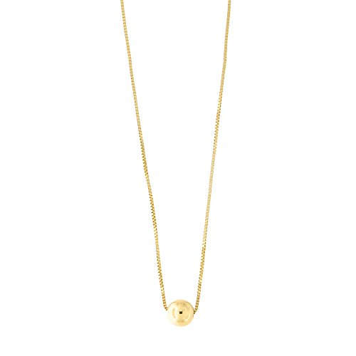 14k Yellow Gold Box Chain 5mm Polished Ball Bead Pendant Necklace, 15