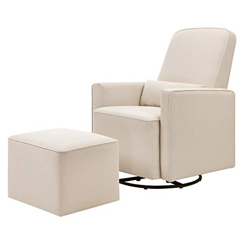 (DaVinci Olive Upholstered Swivel Glider with Bonus Ottoman, Cream)