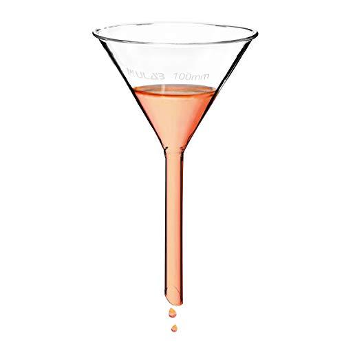 ULAB Scientific Glass Funnel 100mm, Stem Diameter 13mm, 3.3 Borosilicate Glass, UGF1002