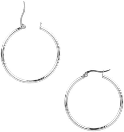 INOX Women's 316L Stainless Steel 1.25 Inch Hoop Earrings