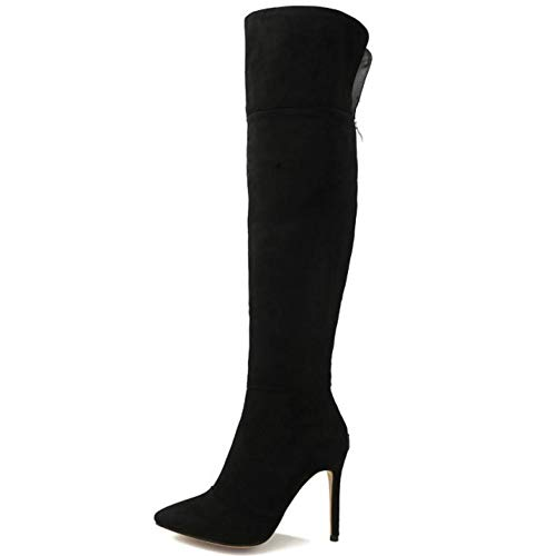 Women Fashion Black Knee The Taoffen Over Stiletto Boots BZ5x5dOw