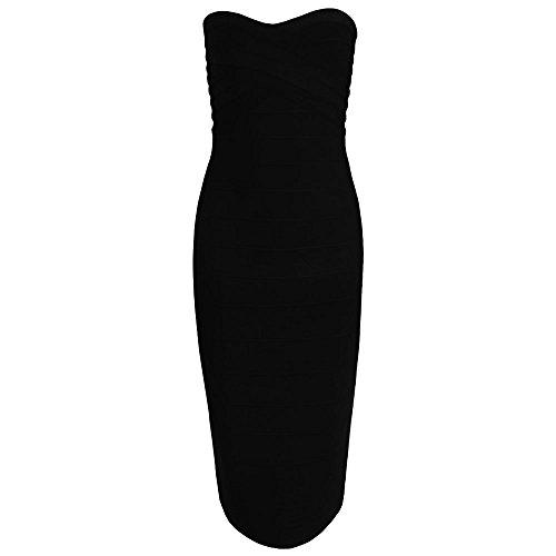 Knee Women's Midi Hlbandage Bandage Nero Dress Length Strapless Bodycon vEq1wA1