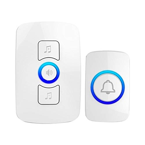 Cherry-Lee Wireless Door Bell, Home AC Electronic Remote Control Doorbell 32 Chime Kit Remote Elderly Caller with LED Light 1 Receiver 1 Push Button for Home Office