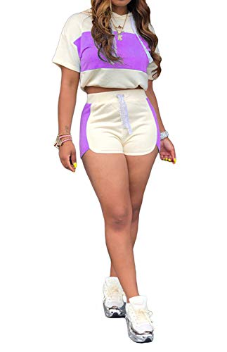 Womens Sexy 2 Piece Sports Outfit Set Shirt Bodycon Short Pants Jogger Clubwear Tracksuit Sportswear Set Hooded Crop Tops High Waisted Shorts Summer Beach Vacation Party Club Purple, Medium