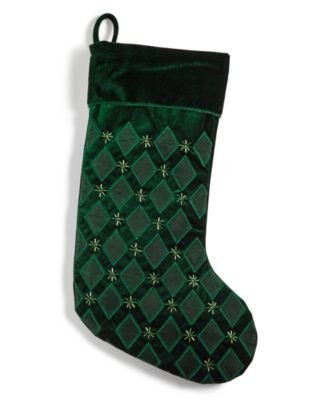 Holiday Lane Green Velvet Christmas Stocking